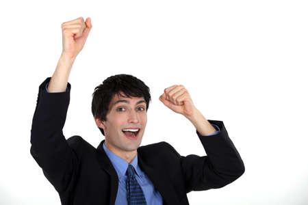 triumphant: Triumphant businessman