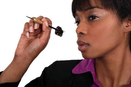 Woman with dart arrow Stock Photo - 16808122