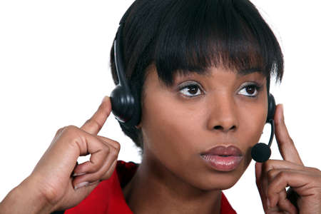Woman with headphones and microphone Stock Photo - 16808071
