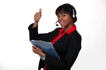 call center agent: call center employee thumbs up