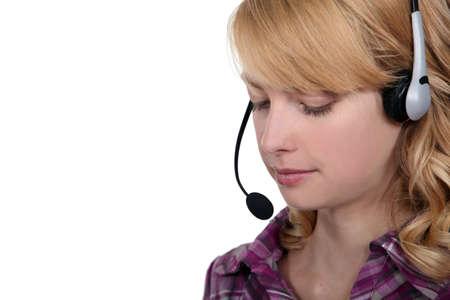 Woman wearing a headset Stock Photo - 16807601
