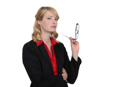 bussines: Stern looking blond businesswoman Stock Photo