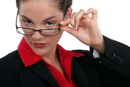 Brunette touching glasses Stock Photo - 16807995
