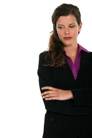 cross arms: Women worried Stock Photo