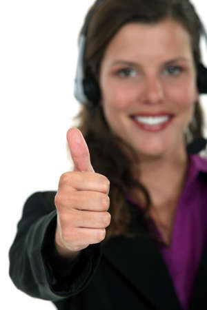 non verbal communication: Call centre agent giving the thumb