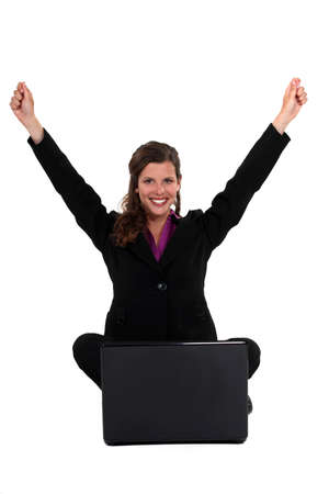 Triumphant businesswoman