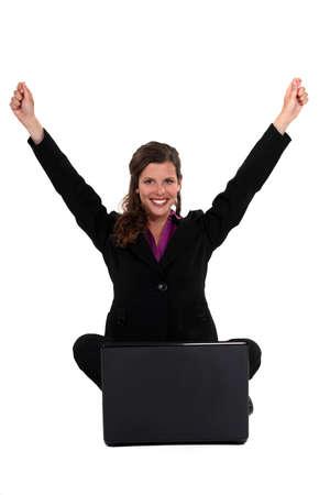 triumphant: Triumphant businesswoman