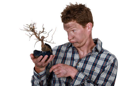 impassive: Electrocuted man holding a plant