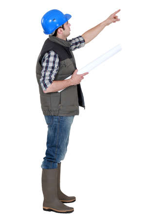 Foreman pointing into the distance Stock Photo - 16805675