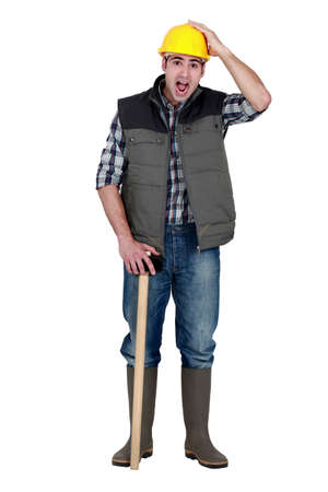 A horrified tradesman Stock Photo - 16806582