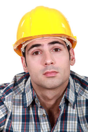 wrinkled brow: Construction worker Stock Photo