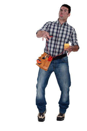 Shocked electrician Stock Photo - 16842052