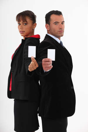 businesspartners: Business-partners offering cards Stock Photo