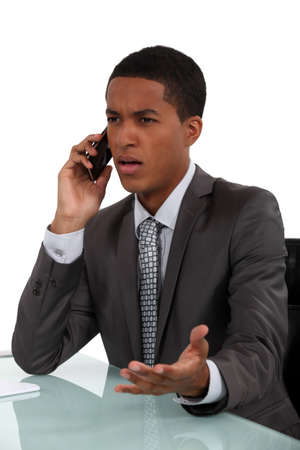 phone conversation: What do you mean   Stock Photo