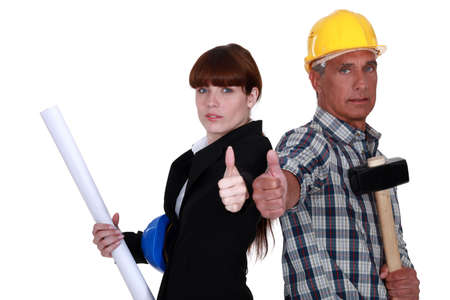 Foreman and architect in complete agreement Stock Photo - 16842075
