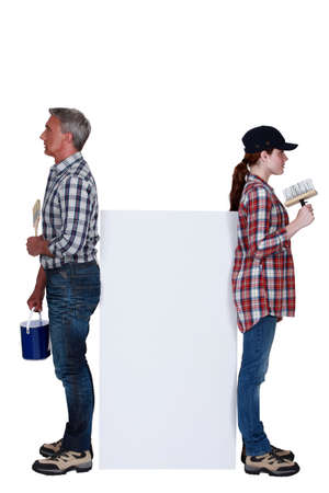 Two decorators falling-out with each other Stock Photo - 16842054