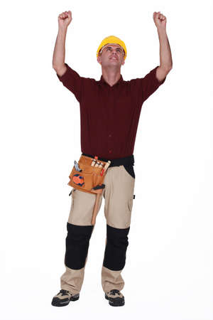patched up: Tradesman rejoicing