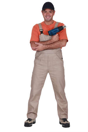 A handyman with a air blower  Stock Photo - 16889990