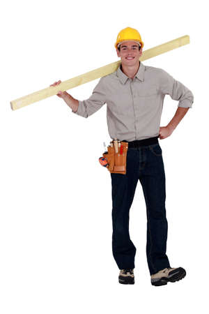 chirpy: Young builder carrying timber