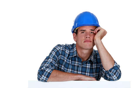 exhausted manual worker Stock Photo - 16842098