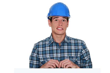 apprehensive: Apprehensive builder Stock Photo