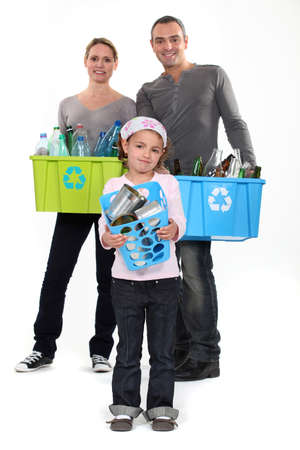 environmentally friendly: responsible family waist sorting Stock Photo