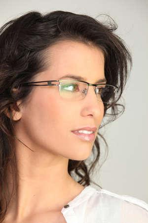 brunette wearing glasses