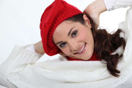 red hair woman: portrait of young woman wearing woolen hat