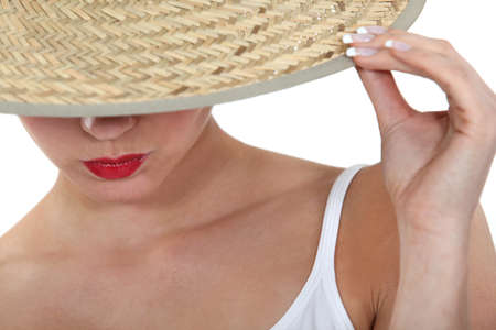 french manicure sexy woman: Woman in a straw hat