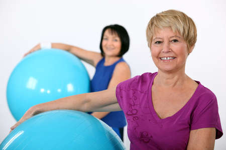maintained: Older women in the gym Stock Photo