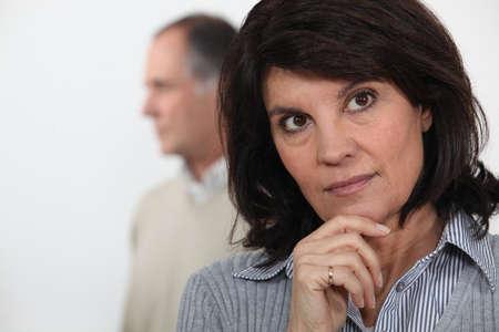 cogitate: mature woman thinking