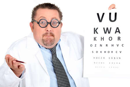 writing on glass: Optician perplexed Stock Photo