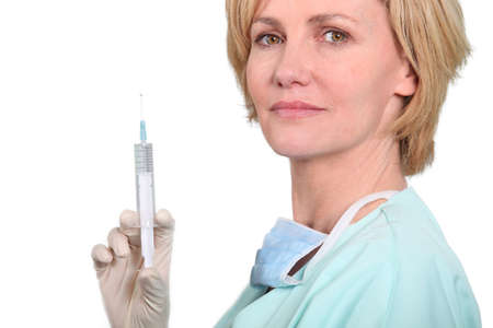 Woman holding a needle photo