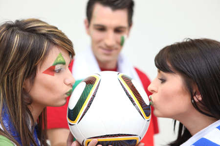 Three Italian soccer fans Stock Photo - 16901509