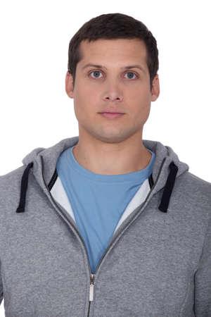hooded top: Man wearing hooded top