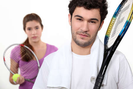 adversaries: A tennis duo Stock Photo