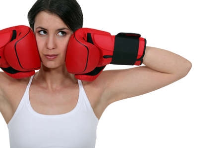 Brunette female boxer Stock Photo - 16900663
