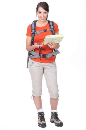 orienteering: young woman orienteering Stock Photo