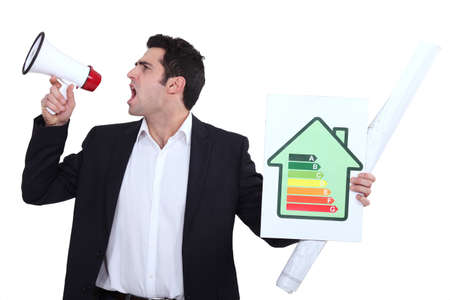 classification: Engineer holding an energy efficiency rating sign and yelling into a blowhorn