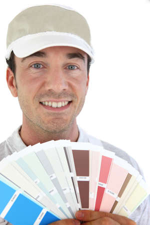 Painter with sample Stock Photo - 16950583
