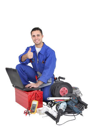 A tradesman giving his stamp of approval Stock Photo - 16950219
