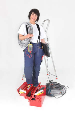 laboring: Female labourer with equipment
