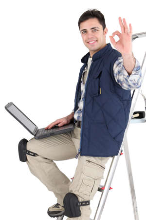 Tile cutter ordering parts on the Internet Stock Photo - 16950125
