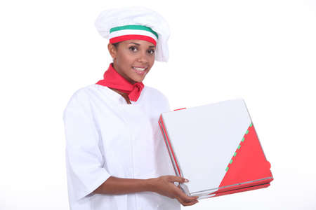 Pizza chef with a takeaway box Stock Photo - 16950383
