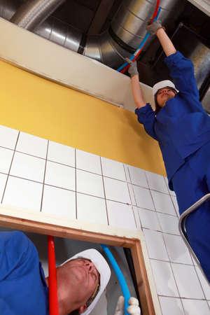 Tradespeople installing tubes photo