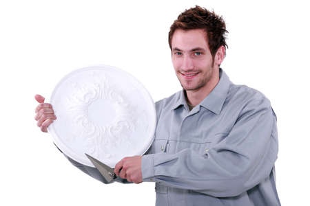 Man with rosette Stock Photo - 16951478