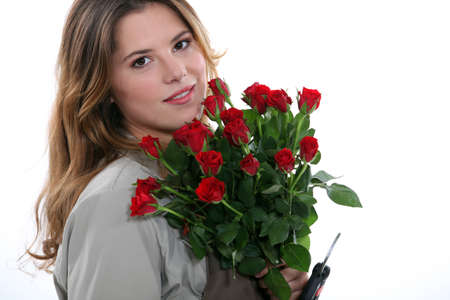 name day: Woman with a bunch of red roses