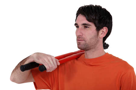 long handled: Man with long handled cable cutters Stock Photo