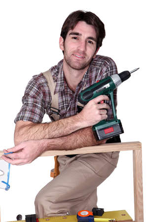 hand drill: Man with hand drill Stock Photo