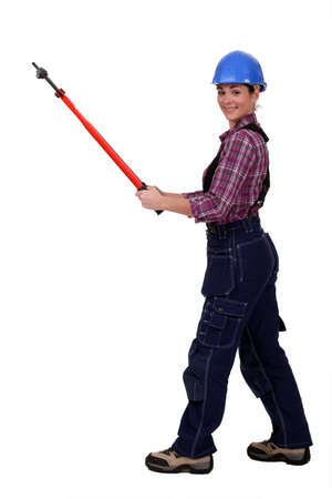 handled: Woman with long handled cutters